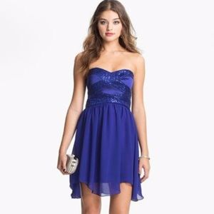 Hailey Logan Blue Sequin Strapless Wavy Hem Dress